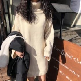 2019秋冬 ニット ワンピース タートルネック ミニ丈 4色 オルチャン 韓国ファッション プチプラ TA10007