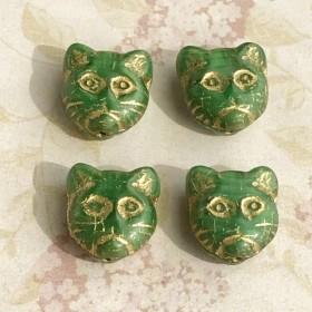 【13㍉ 6個】cat green チェコビーズ
