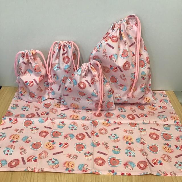 【給食3点セット】ピンク スイーツ柄 ★ w30×35cm給食着袋ランチョンマットコップ袋