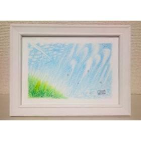 「丘から仰ぐ空」原画1(色鉛筆画)