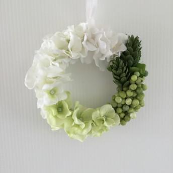 ミニリース ホワイト グリーン アジサイ アーティフィシャルフラワー フラワーギフト プチメリア