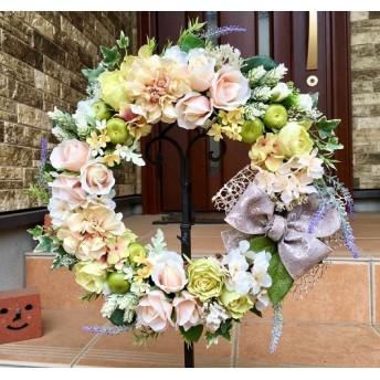 No. wreath-15012/★ ピーチローズ&グリーンアップル 43cm・アートフラワー/造花リース