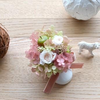 【淡ピンク】ベビーシューズのアレンジ プリザ出産・誕生祝い