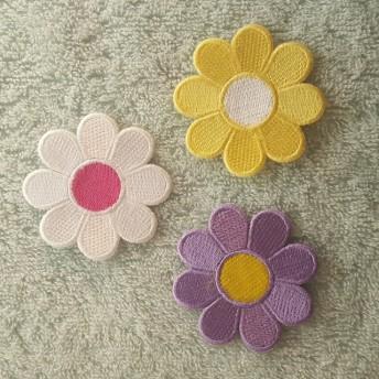 かわいいお花のワッペン 三枚セット C