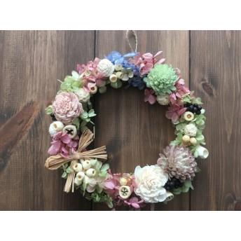 ソラフラワーと紫陽花のリース