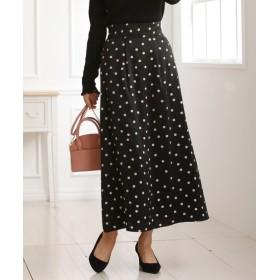ドット柄サテンプリントロングAラインスカート (ロング丈・マキシ丈スカート)Skirts, 裙子