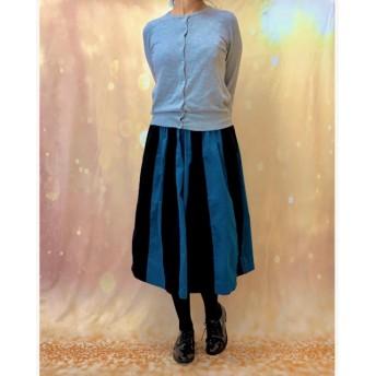 大人可愛い*ブルーグリーン&ブラックコーデュロイはぎスカート受注生産1315-G1