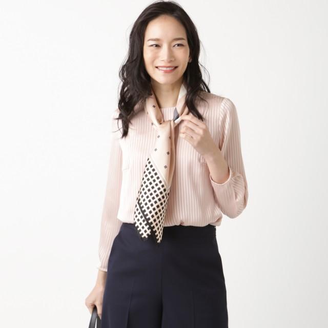 NEWYORKER L シャドーストライプ ブラウスカットソー(スーツインナー対応) Tシャツ・カットソー,ピンク(12)