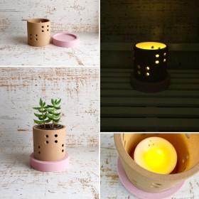 「ドット ピンク 小さなサイズ」インテリア雑貨、鉢カバー、キャンドルホルダー