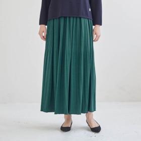スカート レディース ロング 蓄熱保温機能フリースパンツ付きカットソープリーツスカート グリーン