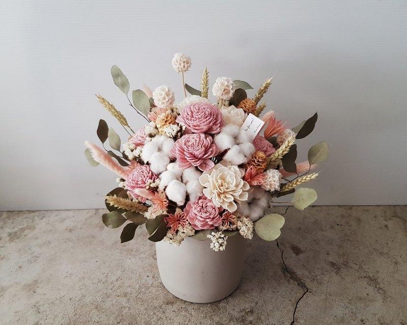 亮粉色系乾燥水泥盆花│萬用祝賀花禮│居家裝飾│