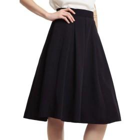 KUKAKI(クカキ) 事務服 スカート ひざ丈 ポケット付き プリーツスカート フレアスカート レディース オフィス カジュアル フォーマル 6色 XS~2XL (M, 黒)