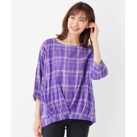 SHOO・LA・RUE シューラルー リボンカフスプリントシャツ