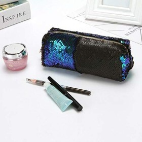 FidgetGear 女性マーメイドスパンコールグリッター化粧品袋鉛筆ボックス小銭入れ化粧ケース - S グリーン+ブラック