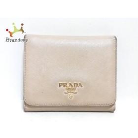プラダ PRADA 3つ折り財布 - - ベージュ レザー 新着 20191010