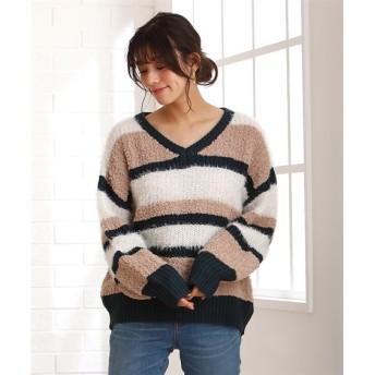 フェザー使い配色ボーダーニット (ニット・セーター)(レディース)Knitting, Sweater