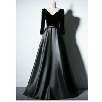 高級感 ウェディングドレス 袖あり パーティードレス ロングドレス ブライダルドレス プリンセスドレス 披露宴 結婚式 演奏会 ステージ衣