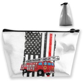 消防士アメリカの国旗 収納ポーチ 化粧バッグ 大容量 台形 収納袋 小銭入れ 小物用ケース 携帯便利 防水 出張 旅行