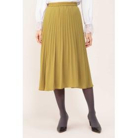 NATURAL BEAUTY ジョーゼットプリーツスカート ひざ丈スカート,イエロー