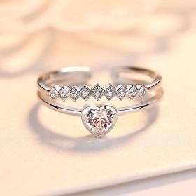 リング 指輪 プロポーズ プロポーズリング 婚約 エレガント ダイヤモンド ジルコンハートリングダブルカーブ 調節可能 リング Cutelove