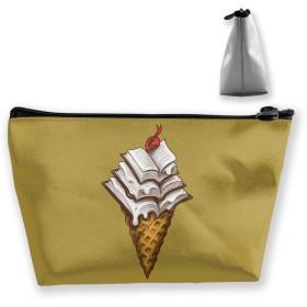 アイスクリームの本 収納ポーチ 化粧バッグ 大容量 台形 収納袋 小銭入れ 小物用ケース 携帯便利 防水 出張 旅行
