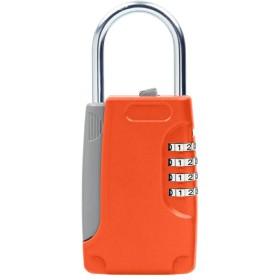 鍵収納ボックス 南京錠 暗証番号 4桁 ダイヤル式 ドアロック - オレンジ