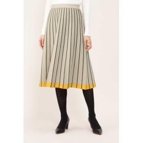 NATURAL BEAUTY ◆ボーダープリーツスカート ひざ丈スカート,ベージュ