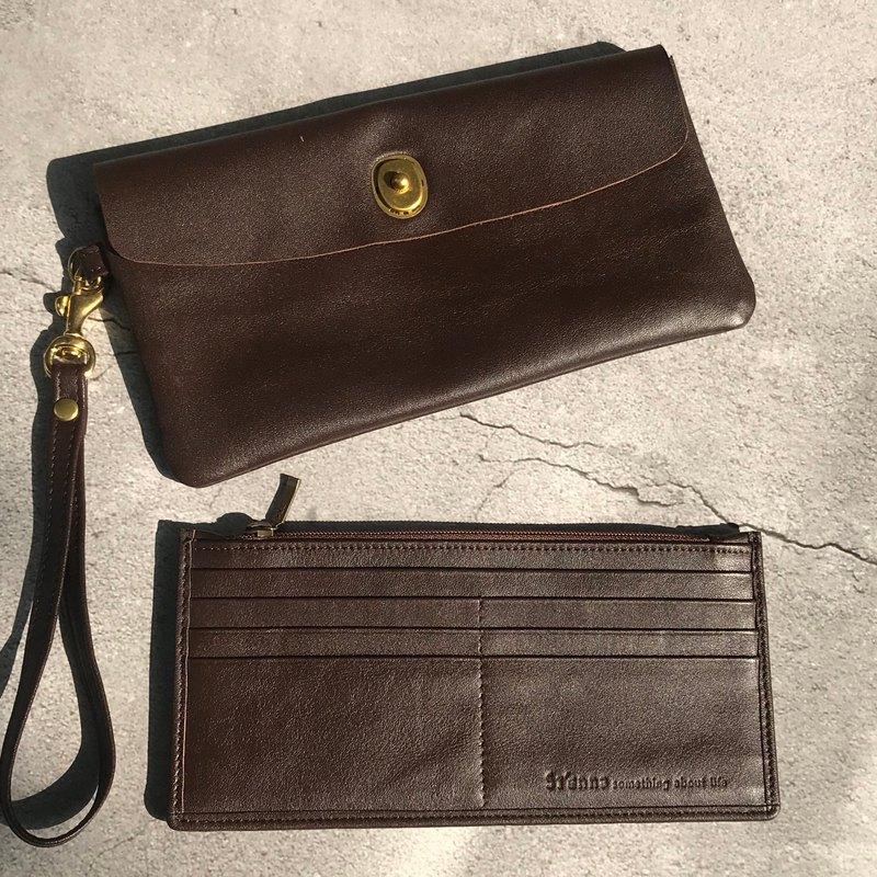 Sienna真皮子母設計多用長皮夾手拿包