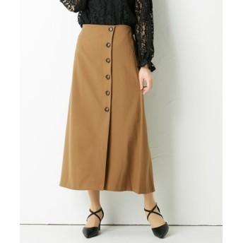 フェイクウールあったか見え素材♪ボタン使いAラインスカート (ひざ丈スカート)Skirts, 裙子
