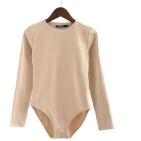 DOUGHNUT 女性のラウンドネック長袖固体ロンパースジャンプスーツボディスーツセクシーな服 (色 : 杏色, サイズ : M)