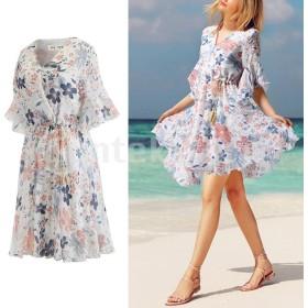 全6サイズ レディース ドレス ワンピース 花柄 半袖 Vネック お出かけ ビーチ 夏 ファッション