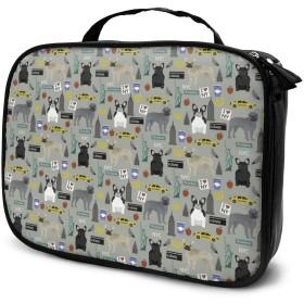 フレンチ・ブルドッグ 化粧バッグ 男女兼用化粧袋 洗面用品収納バッグ プレゼント大容量 多機能 普段使い 出張 旅行