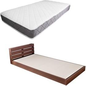 ローベッド セミシングル 厚さ20mマットレス付き 棚付き/ブラウン(BR)×マットレスカラー:ホワイト(WH)