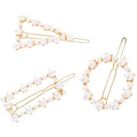 sharprepublic 3本 サイドヘアクリップ ヘアピン 人工真珠 幾何学的 手作り ヘアアクセサリー おしゃれ