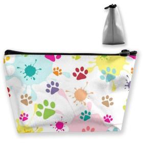 色付きの足跡 収納ポーチ 化粧バッグ 大容量 台形 収納袋 小銭入れ 小物用ケース 携帯便利 防水 出張 旅行