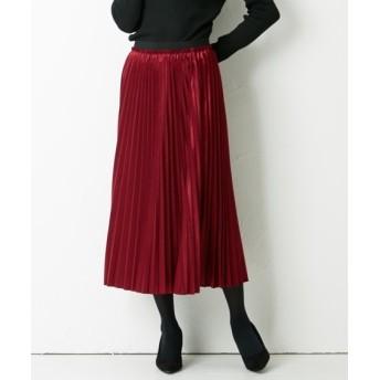 ベロア素材プリーツアコーディオンスカート (ロング丈・マキシ丈スカート)Skirts