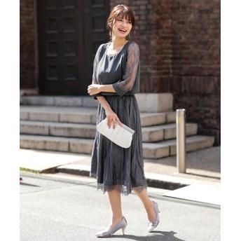 レーススカート使いカフス付ワンピースドレス【結婚式。二次会。お呼ばれ対応】<大きいサイズ有>