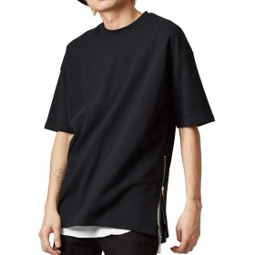 ビッグTシャツ メンズ レディース ビッグシルエット Tシャツ カットソー 半袖 無地 クルーネック オーバーサイズ ビッグサイズ トップス ブラック L サイズ