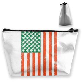 アイルランドアメリカの国旗 収納ポーチ 化粧バッグ 大容量 台形 収納袋 小銭入れ 小物用ケース 携帯便利 防水 出張 旅行