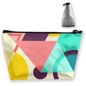 幾何学的な自転車アート 収納ポーチ 化粧バッグ 大容量 台形 収納袋 小銭入れ 小物用ケース 携帯便利 防水 出張 旅行