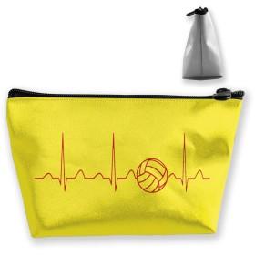バレーボールハートビート 収納ポーチ 化粧バッグ 大容量 台形 収納袋 小銭入れ 小物用ケース 携帯便利 防水 出張 旅行