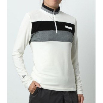 ジュン アンド ロペ/リブ衿配色ZipUpプルオーバー/ホワイト/M