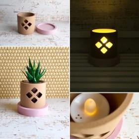 「ダイヤ ピンク小さなサイズ」インテリア雑貨、鉢カバー、キャンドルホルダー