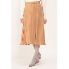 NATURAL BEAUTY ジョーゼットプリーツスカート ひざ丈スカート,オレンジ