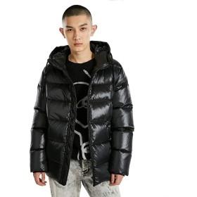 メンズ 冬のダウンジャケット メンズコットンジャケット トレンディソリッドカラー フード付きショートダウンジャケット ダック ダウン フィリング フード付き襟 ドローストリング ジッパーしきい値 (Color : Black, Size : XXXL)