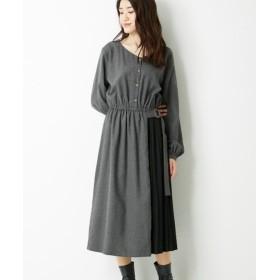 微起毛素材異素材切替ワンピース (ワンピース)Dress, 衣裙, 連衣裙