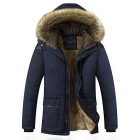 Vwcoik 2019年外国貿易の新しい冬のメンズカジュアル綿のメンズ暖かい綿のジャケットのファッションモデル脂肪の生成 (Color : Blue, Size : XL)