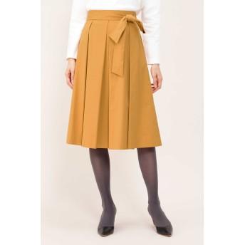 NATURAL BEAUTY ナチュラルビューティ タフタカラースカート ひざ丈スカート,オレンジ