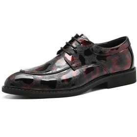 [Jusheng-shoes] メンズシューズ 男性のドレスシューズのためのオックスフォードは、PUレザーラバーソールエンボス柄のポインテッドトゥのミシン糸の耐摩耗レースアップ カジュアルシューズ (Color : 赤, サイズ : 23.5 CM)