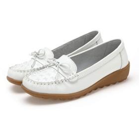 [Bopoli] Cute ちょう結びComfort Boat ブーツ 滑り止め Rubber Sole Driving Penny Loafer ブーツ for レディーズ